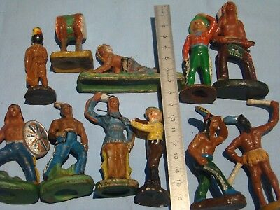 alt Masse Wildwest Figuren Indianer  Cowboys 11 Teile
