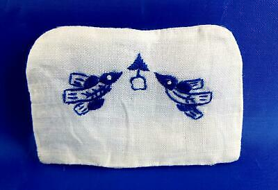 Dolls House Shabby Chic Embroidered Blue Bird Back Cushion Miniature Accessory