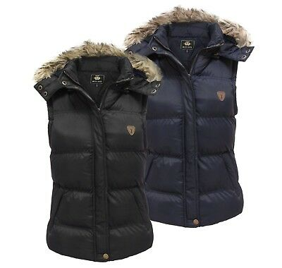 Brave Soul Womens Ladies Faux Fur Hooded Quilted Padded Gilet Jacket Sizes 8-16
