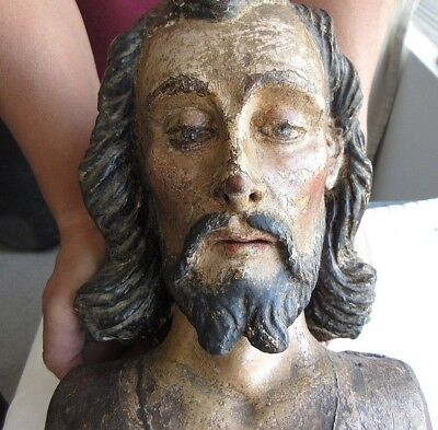 18Th Cent. Hand Carved & Hand Painted Polychrome Wood Reliquary Of Jesus Chri