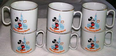 Vintage Set Of 6 Walt Disney World Mickey Mouse Mugs With Gold Trim From Japan