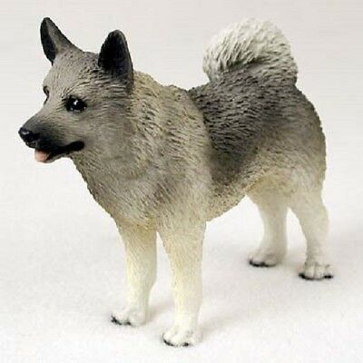 NORWEGIAN ELKHOUND dog FIGURINE puppy HAND PAINTED Statue COLLECTIBLE resin NEW
