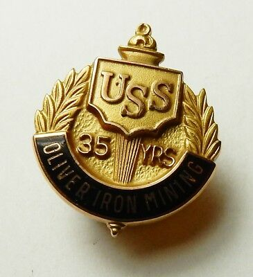 Uss United States Steel Oimco Oliver Iron Mining Co 10K Gold 35 Year Service Pin
