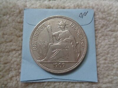 1909 A French Indo-China Piastre large Silver coin Nice details