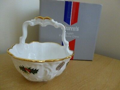Queens Yuletide Rosina China Basket for Nibbles or Sweets for Christmas