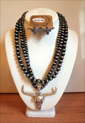 Long Horn Steer Skull Navajo Pearl Western Pewter Tone Beads Necklace Set
