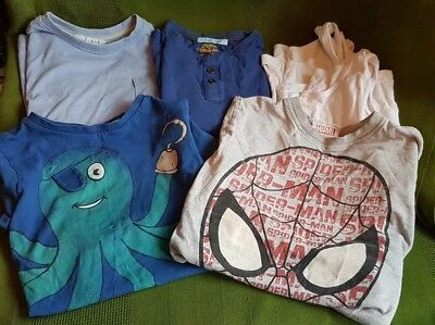 Bundle boys clothes ages 5-6 yrs t shirts tops Spiderman octopus vests job Lot 5