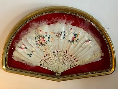 Antique Victorian Hand Painted Ostrich Feathers Fan Carved Handle Framed