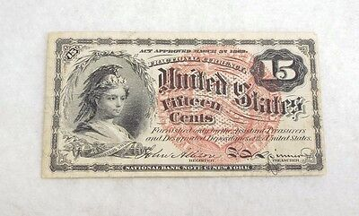 US Fractional Currency 15-Cent Note 4th Issue 1869-75 FINE