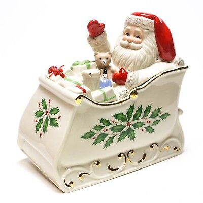 Lenox Dimension Collection Holiday Santa On Sleigh Covered Candy Dish