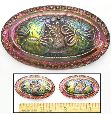 XL 42mm Vintage Czech Glass Victorian Flowers Rainbow Fire AB OVAL Buttons 2pc