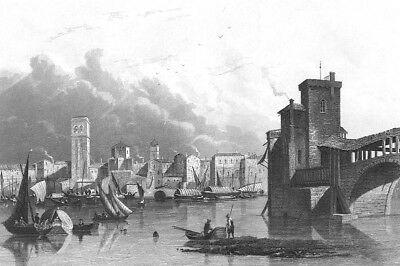Italy, Lombardy PAVIA CATHEDRAL TICINO RIVER BRIDGE ~ 1861 Art Print Engraving