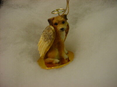 BORDER TERRIER dog ANGEL Ornament HAND PAINTED Resin FIGURINE puppy Christmas