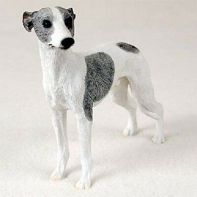 WHIPPET Dog HAND PAINTED FIGURINE Resin Statue COLLECTIBLE Gray White puppy NEW
