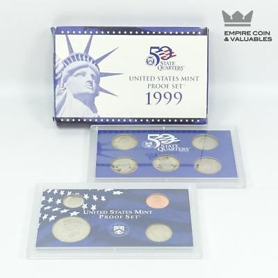 1999 S United States Mint Proof Set, 9 Coins, COA