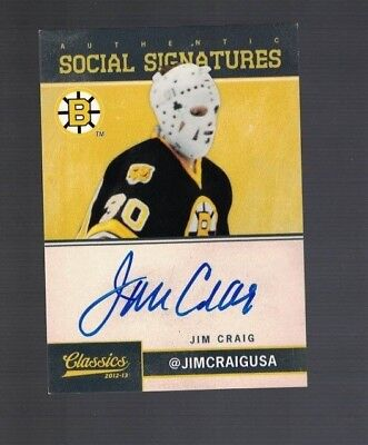 Jim Craig Boston Bruins 12-13 Panini Classics Social Signatures Auto