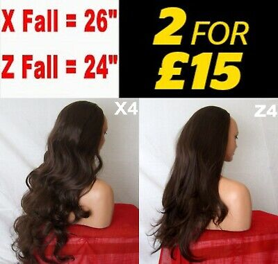 CHOCOLATE BROWN #4 Natural Long Curly Flick Layered Half Wig Womens Hair Piece