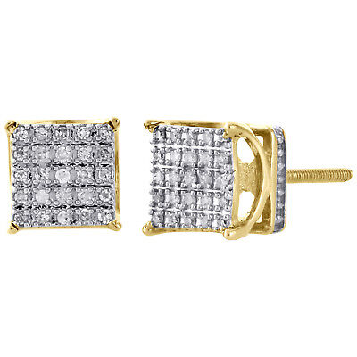 10K Yellow Gold Round Diamond Basket Small 4 Prong Square Stud Earrings 0.15 CT.