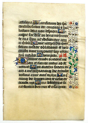 ILLUMINATED MANUSCRIPT BOOK OF HOURS LEAF c.1450 France GOLD & RINCEAUX BORDER