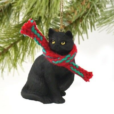 BLACK CAT w/ scarf Ornament HAND PAINTED Resin Figurine CHRISTMAS kitty kitten