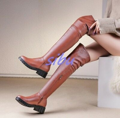4bc9d7e8a8c Chic Women Winter PU Leather Side Zip Chunky Heel Creeper Over Knee High  Boots
