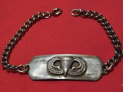 Scarce WWII US Army Paratrooper Airborne ID Bracelet Sterling Jump Wing