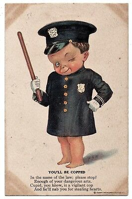 """Boy in Cop Costume with Billy Club; """"You'll Be Copped"""" Vintage Postcard"""