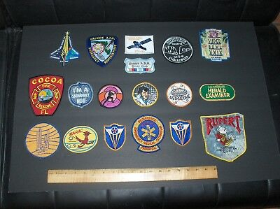 Original Large Mixed Lot (18) Total Patches Nasa Military Sports Elvis Mcm Misc