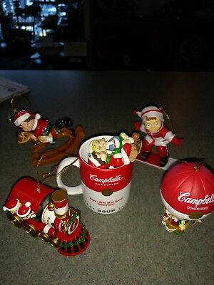 Lot Of 5 Vtg Campbell Soup Kids Christmas Ornaments