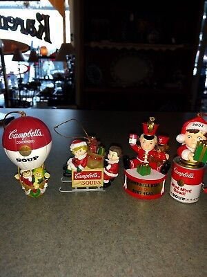 Lot Of 4 Vtg Campbell Soup Kids Christmas Ornaments