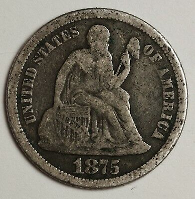 "1875-s Liberty Seated Dime.  Micro ""s"".   Fine Detail.  131382"