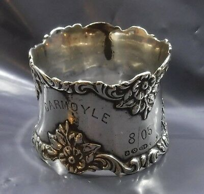 Art Nouveau Ornate Sterling Silver Napkin Ring, Names Engraved Dated 1905