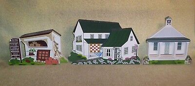 3 Different 1990's Shelia Wooden Houses - Amish Home, School & Roadside Stand