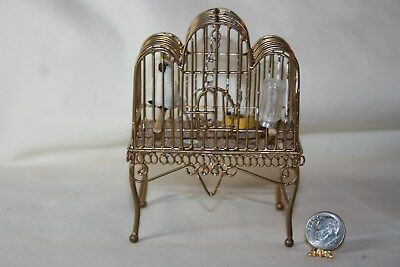 Miniature Dollhouse Artisan Grand Antique Birdcage w Parrot Food & Water NR