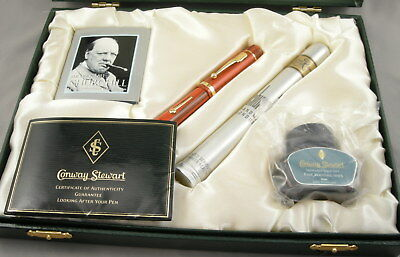 Conway Stewart Churchill Limited Edition Red Ripple Fountain Pen - 2006 - MINT