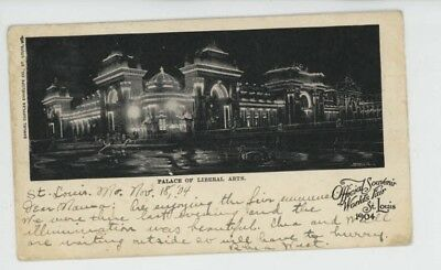 Mr Fancy Cancel Used St Louis Worlds Fair Palace Liberal Arts 1904 Card #1250