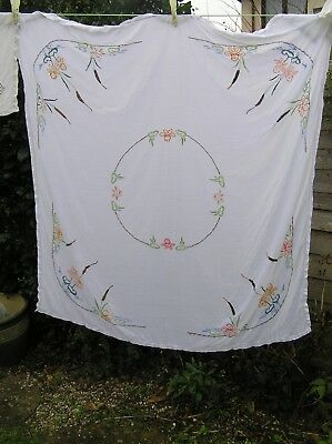 Vintage embroidered tablecloth large floral lily bulrush