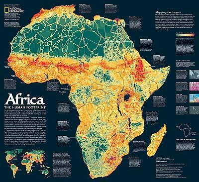 """National Geographic ~ Map Of Africa ~ 2 Sided ~ 24"""" X 22"""" ~ A Storied Landscape"""