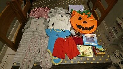 6-18 Month Bundle boys BNWT books Halloween tops shirt nappy pyjamas vest wood