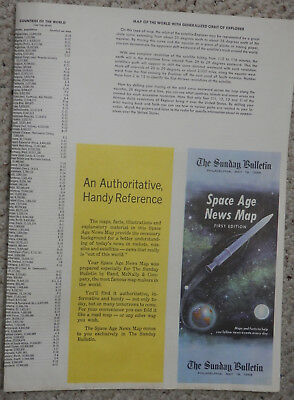Philadelphia Sunday Bulletin May 18 1958, Space Age News Map, Used - Good Cond.