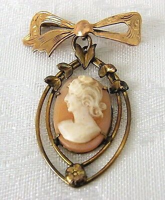 Vintage Shell Cameo Brooch Bow 9 ct Gold