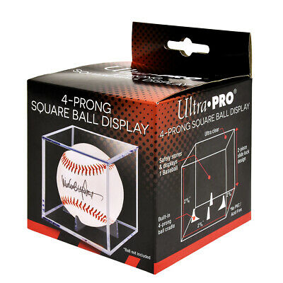 Baseball SQUARE BALL HOLDER Clear Display Case w/ 4-Prong Stand NEW Ultra Pro