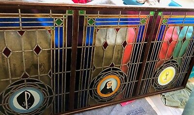 """GORGEOUS RARE ANTIQUE LARGE STAINED GLASS WINDOW FROM NUNS CONVENT 88"""" x 42"""""""