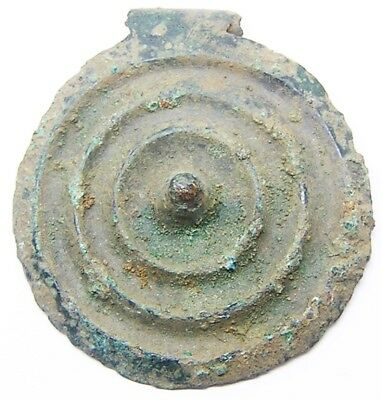 1500 - 1000 B.C. Superb Bronze Age Decorated Scutiform Disc Pendant
