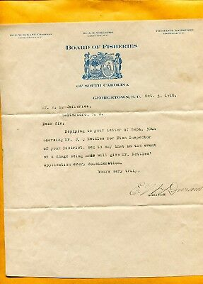 1916 State Of Sc Board Of Fisheries Letterhead Dr E W Durant Georgetown Sc