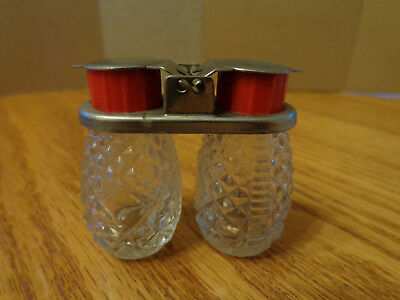 Vintage Antique Clear Glass -salt and pepper shakers