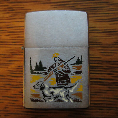 "vintage Zippo 1970""s Hunter with Dog Lighter Wedding Gift Personalized used"