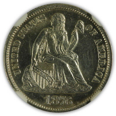 1876 Seated Liberty 10c NGC Unc Details