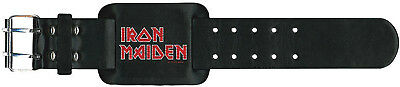 IRON MAIDEN Classic Band Logo LEATHER WRIST STRAP LEDER ARMBAND OFFICIAL MERCH