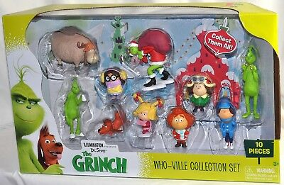The Grinch Movie Whoville Collection Set 10 Pieces Figures NIB 2018 Rare